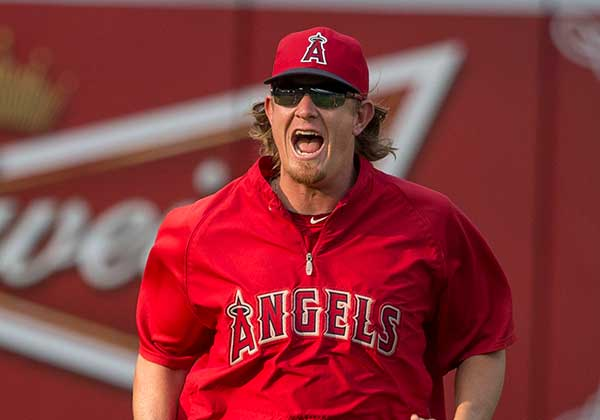 Angels Pitcher Jered Weaver Screaming at Something