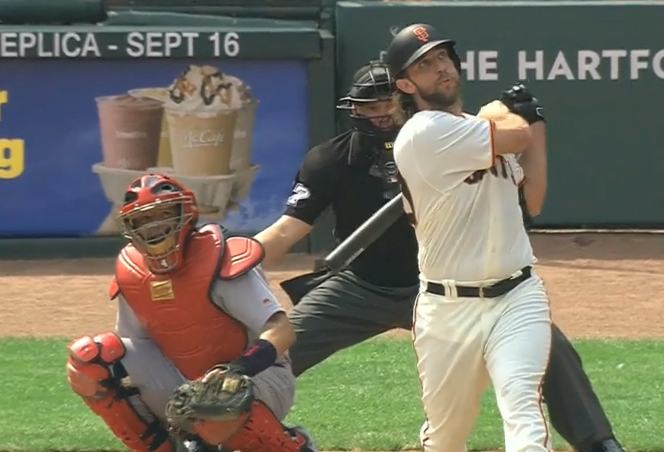 Madison Bumgarner Hitting Home Run with Tight Cheeks