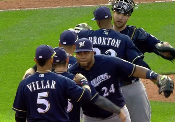 Brewers Players Doing High Fives after a Win